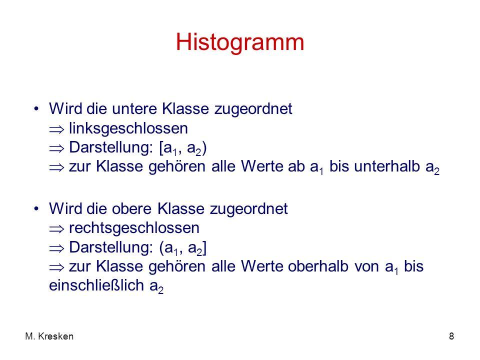 Histogramm Wird die untere Klasse zugeordnet  linksgeschlossen  Darstellung: [a1, a2)  zur Klasse gehören alle Werte ab a1 bis unterhalb a2.